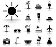 Summer vacation icon set royalty free illustration