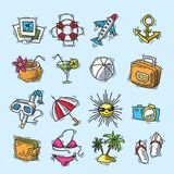 Summer vacation icon set Royalty Free Stock Photos