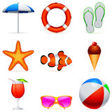 Summer vacation icons. Set of 9 summer vacation icons Royalty Free Stock Photography