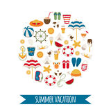Summer vacation icons arranged in a circle. Royalty Free Stock Images