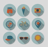 Summer vacation icons Stock Images