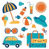 Summer vacation icons Stock Image