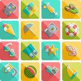 Summer vacation icons flat diagonal slanted Royalty Free Stock Image