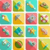 Summer vacation icons flat diagonal slanted stock illustration