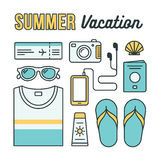 Summer vacation icons. Summer vacation flat line icons. Holiday essentials: clothes, accessories and travel documents arranged in a pattern. Vector illustration Royalty Free Stock Image
