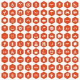 100 summer vacation icons hexagon orange. 100 summer vacation icons set in orange hexagon isolated vector illustration Stock Photo