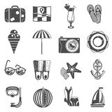Summer vacation icons set black Royalty Free Stock Image