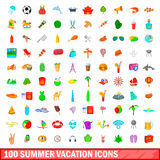 100 summer vacation icons set, cartoon style. 100 summer vacation icons set in cartoon style for any design vector illustration Stock Image