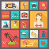 Summer and vacation icons set, flat design vector. Stock Photography
