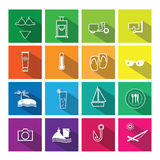 Summer vacation icons set flat shadow Stock Photo