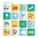 Summer vacation icons set. Flat vector illustration. Stock Image
