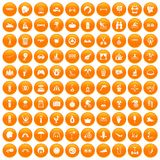 100 summer vacation icons set orange. 100 summer vacation icons set in orange circle isolated on white vector illustration Royalty Free Illustration