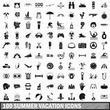 100 summer vacation icons set, simple style Stock Photo