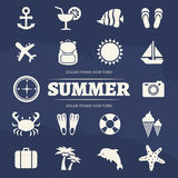 Summer vacation icons set - travel adventure icon. Summertime travel icon anchor and sun, cocktail and leisure, vector illustration Stock Image