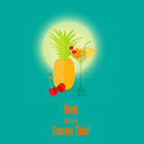 Summer Vacation Image with the Lettering. Vector Image of a Summer Fruits and a Coctail against Warm Sun and Waves. Vector EPS 10 Stock Photos