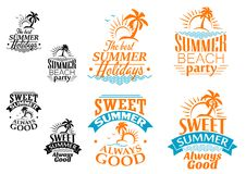 Summer vacation labels and banners Royalty Free Stock Photos