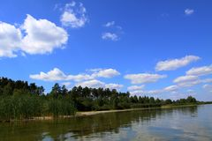 Summer vacation on the lake by the forest where the blue sky stock photo