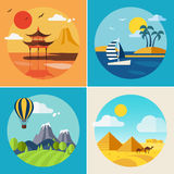 Summer Vacation Landscape Illustrations Set Stock Photos