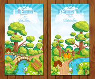 Summer vacation landscapes vertical banner vector Royalty Free Stock Photos