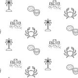 Summer vacation line icon seamless vector pattern. Beach outline tileable white and black background Stock Image