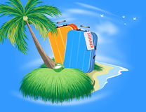 Summer vacation with luggage sign scene Royalty Free Stock Photo