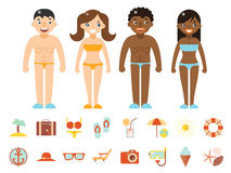 Summer vacation male female characters color beach resort accessorize vector symbols icon flat design template Royalty Free Stock Photography