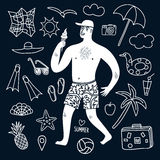 Summer vacation man and doodle illustrations set Stock Images