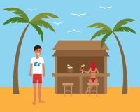Summer vacation. Man relaxing at the beach cafe with beautiful girl. Flat vector Royalty Free Stock Images