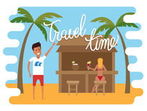 Summer vacation. Man relaxing at the beach cafe with beautiful girl. Flat vector Stock Photography