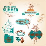 Summer vacation marine sea emblems setΠRoyalty Free Stock Photo