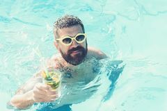 Summer vacation at Miami beach or Maldives. Man swimming and drink alcoholic mojito. Cocktail party with bearded man in royalty free stock photo