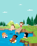 Summer vacation in a mountain stream Stock Photo