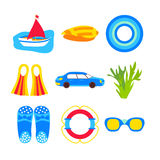 Summer vacation objects isolated over white Royalty Free Stock Photos