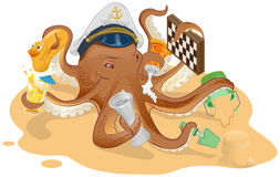Summer vacation. Octopus has good time on beach Stock Photography