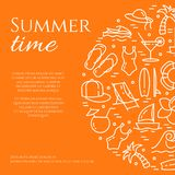 Summer vacation orange banner with thin line elements and copy space. stock illustration