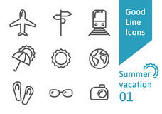 Summer vacation outline icons set 01. Airplane, umbrella, sunglasses, train and other linear symbols royalty free illustration