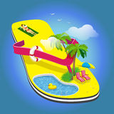 Summer vacation. Palm trees, sun loungers and pool on the flop. Resting on a towel girl Stock Image