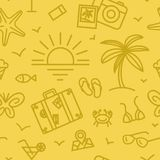 Summer vacation pattern with different travel icons in linear style. Stock Photo