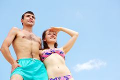 Summer vacation. Peaceful couple enjoying summer vacation Stock Photos