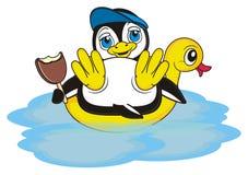 Summer vacation for penguin boy Stock Photos
