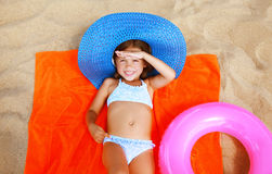 Summer, vacation and people concept - little girl in bikini Stock Photos