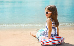 Summer, vacation and people concept - little girl resting Royalty Free Stock Image