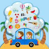 Summer vacation with people driving in car. Illustration Royalty Free Stock Photo