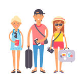 Summer vacation people illustration. Summer people vacation traveling. Vacation people couple happy family travel together. Traveling family couple people on Stock Images