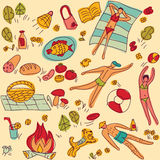 Summer vacation people objects seamless pattern color Stock Photo