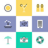 Summer vacation pictogram icons set Stock Photos