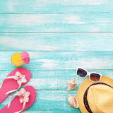 Summer vacation. Pink sandals by swimming pool Royalty Free Stock Image