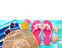 Summer vacation. Pink sandals by swimming pool Royalty Free Stock Photography