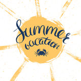 Summer vacation poster. Summer vacation card, vector card for summer holidays with hand drawn lettering and sun Stock Photos