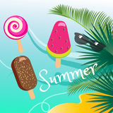 Summer vacation. Poster. Tropical palm tree leaves, ice cream, candy ice-cream lolly, colorful ice Popsicles. background, sunglasses. Vector illustration Stock Photos